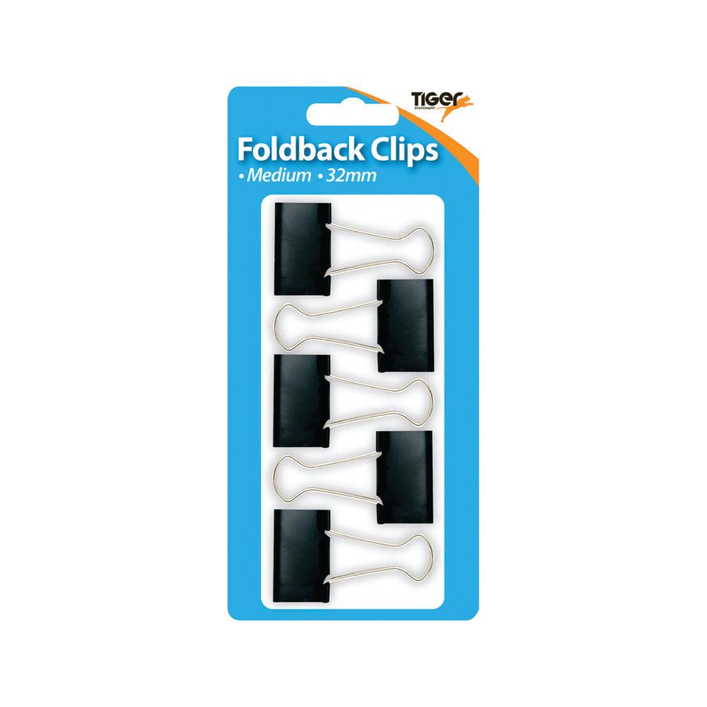Tiger Black Medium 32mm Fold Back Clips, Pack of 60 - 302005