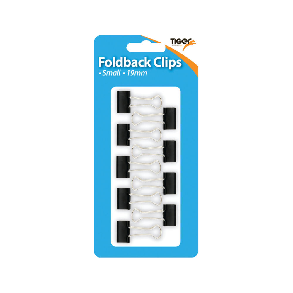Tiger Black Small 19mm Fold Back Clips, Pack of 108 - 302004