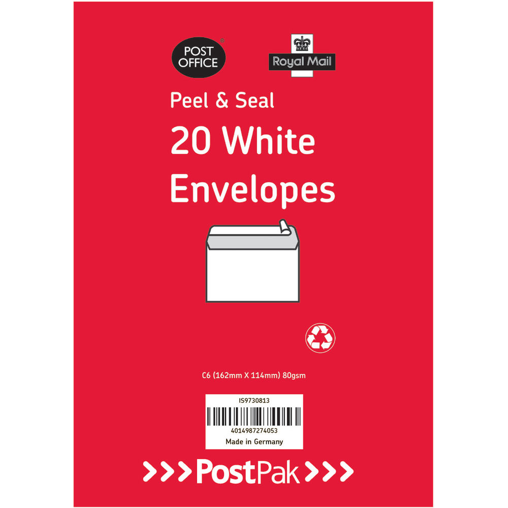 Envelopes C6 Peel & Seal White 80Gsm (Pack of 520) POF27425