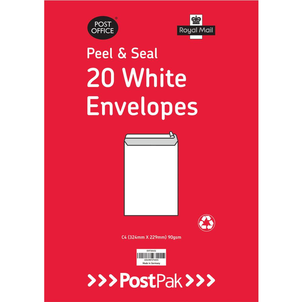PostPak White C4 Peel and Seal Envelopes 90gsm, Pack of 200 - 9730451
