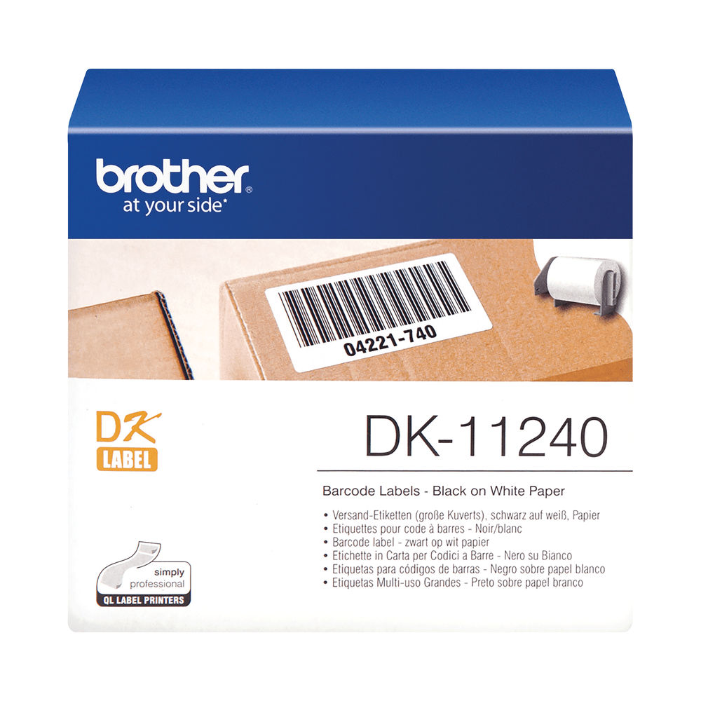 Brother Barcode Labels 102 x 51mm 600 Per Roll Black on White DK11240