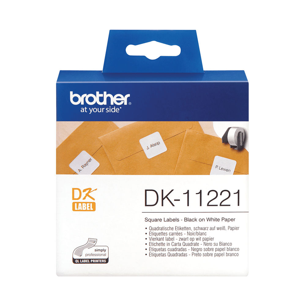 Brother Label Roll 23 x 23mm Black on White DK11221