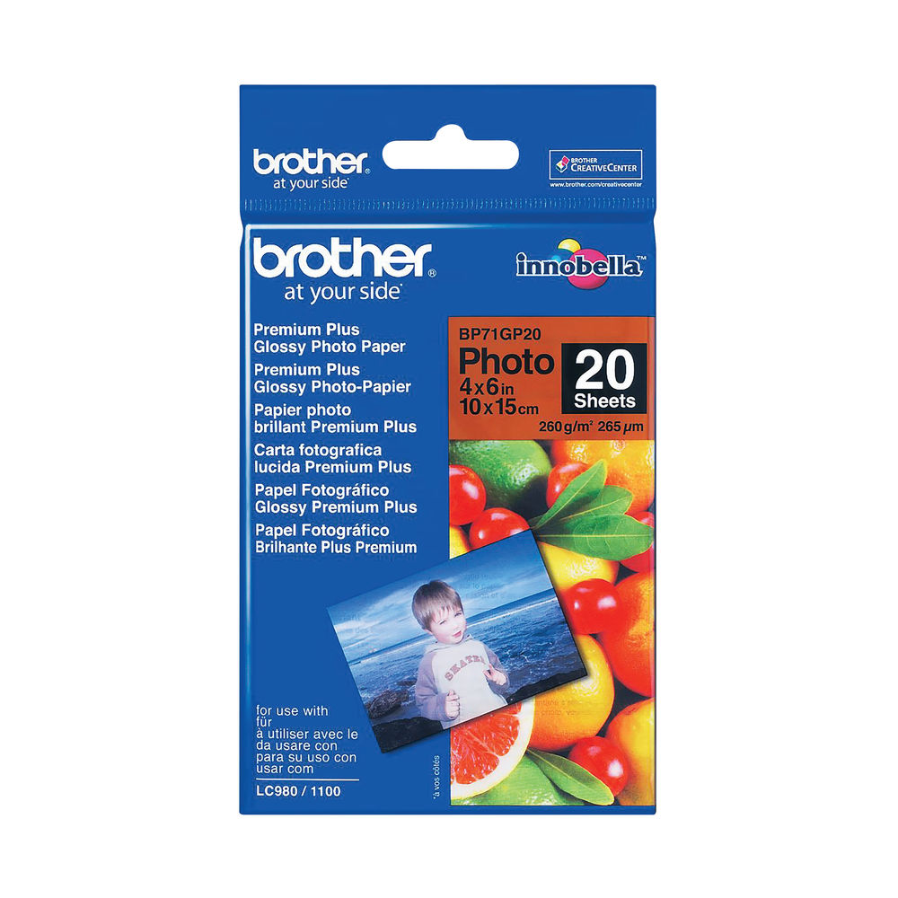 Brother Gloss Photo Paper 4 x 6 Inch (Pack of 20) BP71GP20