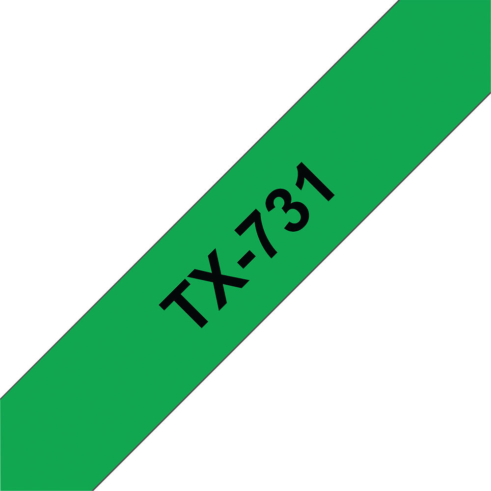 Brother P-Touch Labelling Tape 12mm x 15m Black on Green TX731