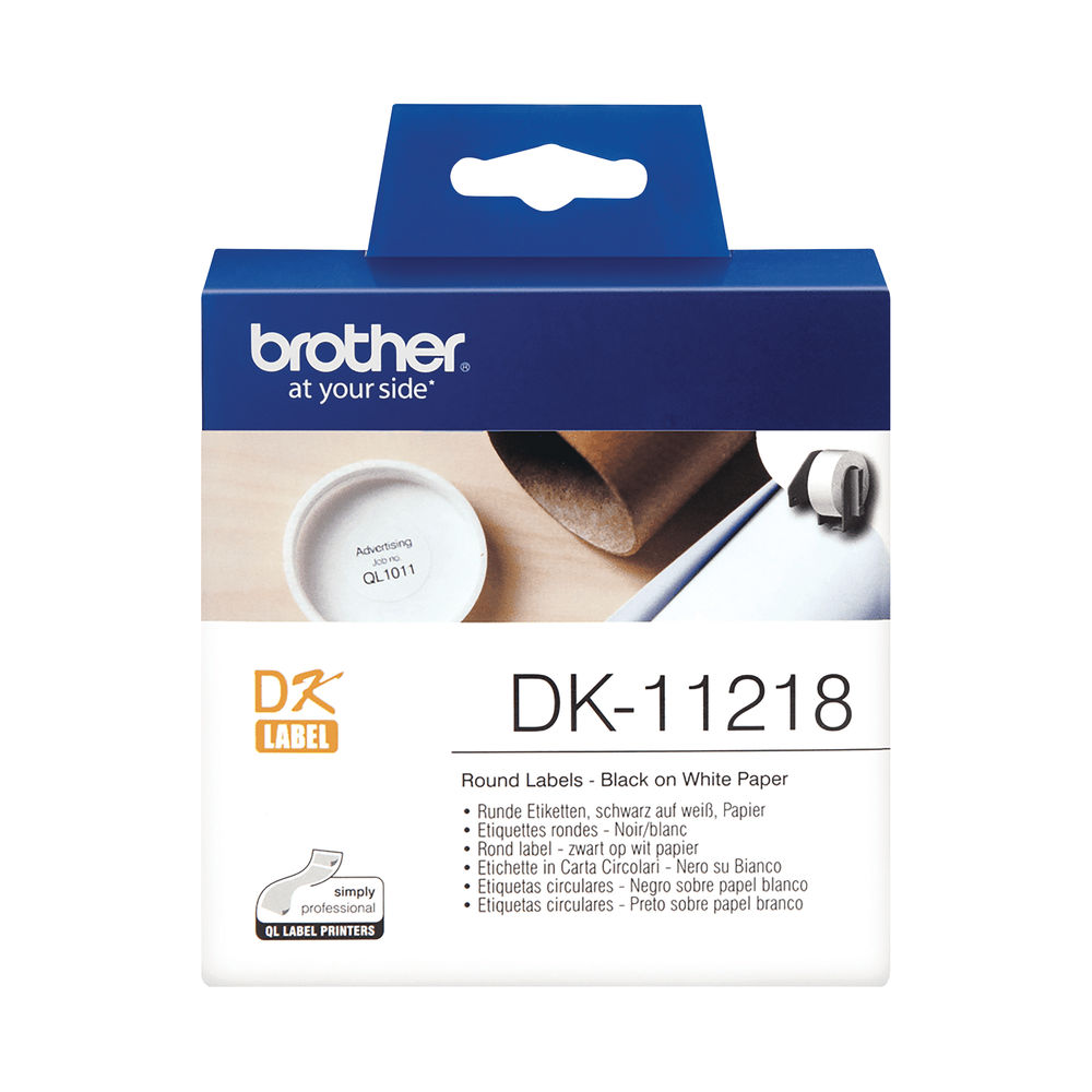 Brother Label Roll 24mm Round 1000 Per Roll Black on White DK11218