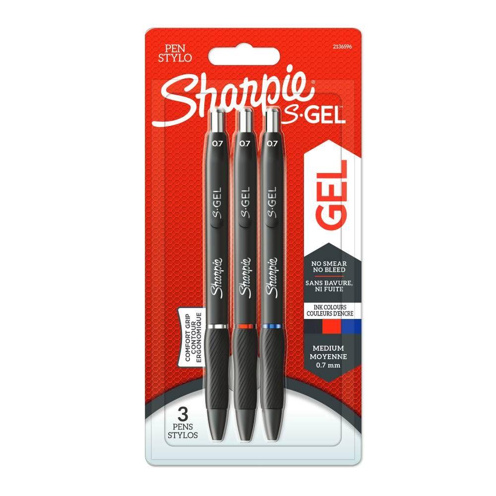 Sharpie S-Gel Assorted Medium Gel Pens, Pack of 3 - 2136596