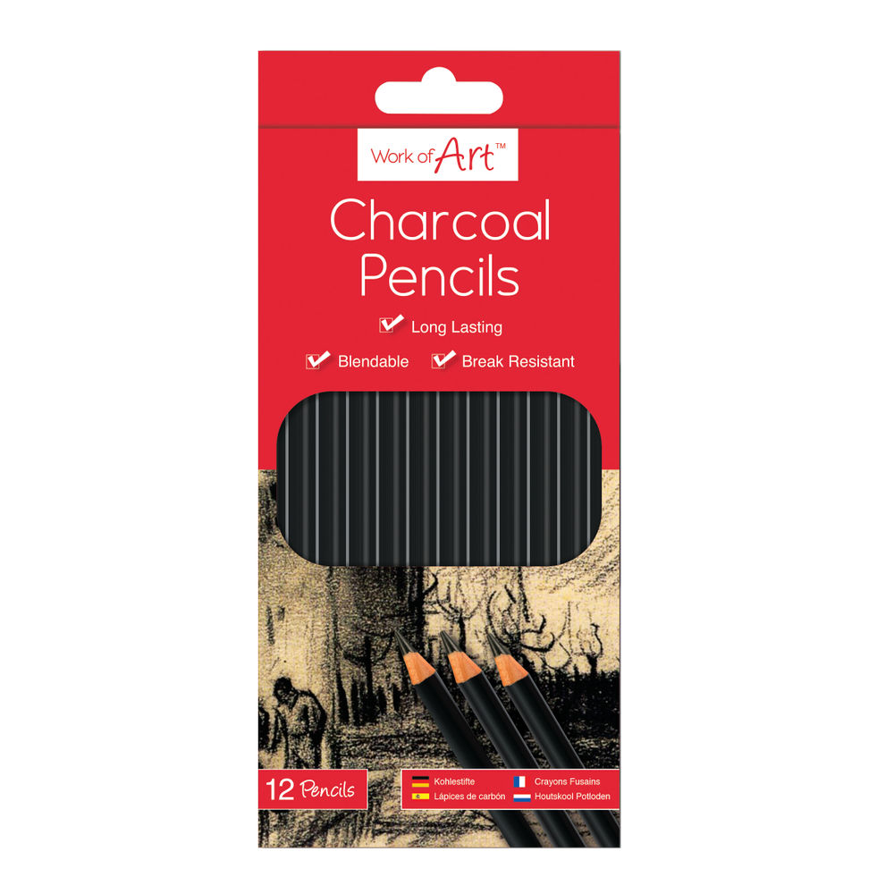 Work of Art Charcoal Pencils, Pack of 12 - TAL05148