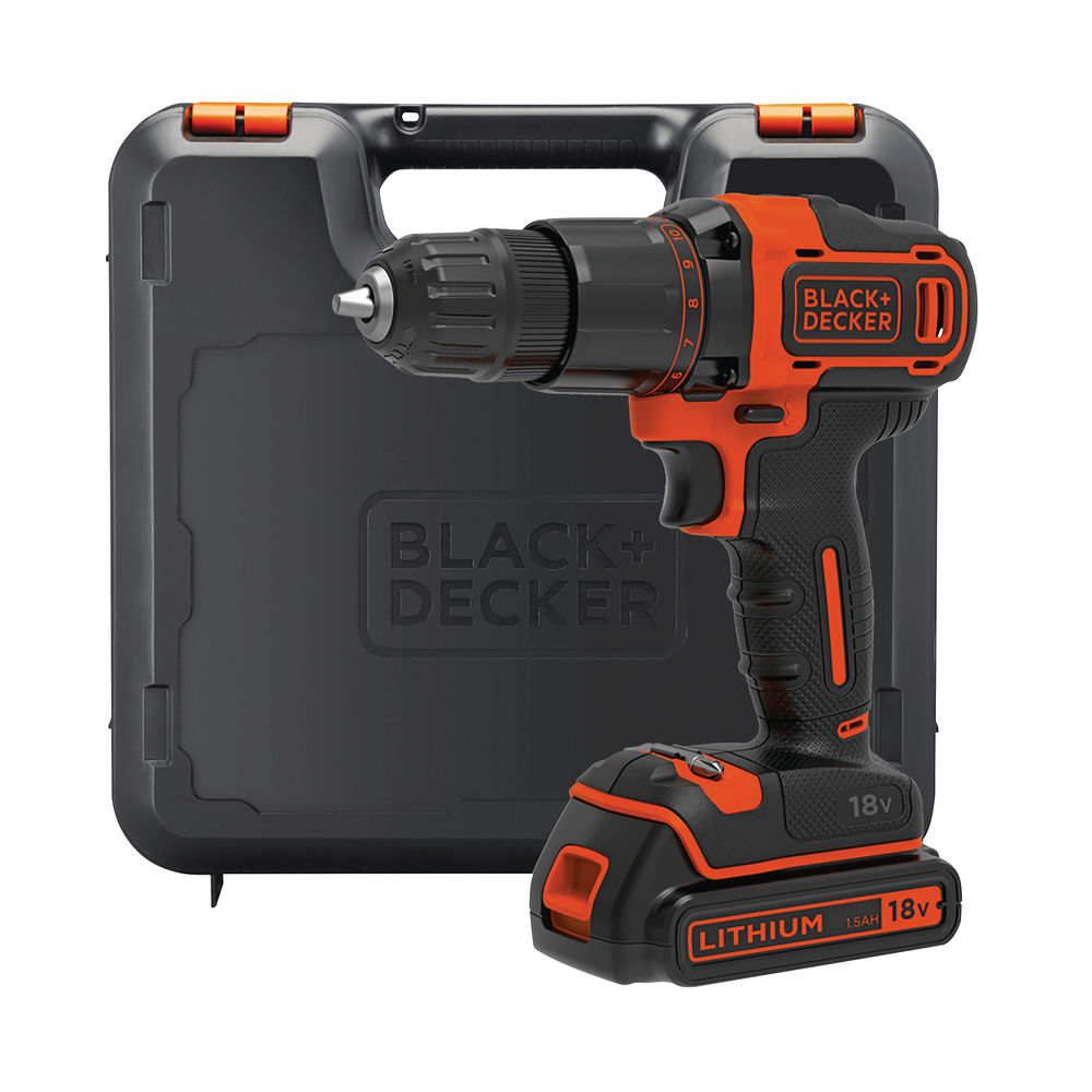 Black And Decker Lithium-ion Hammer Drill + 400mA Charger + 1 Battery + Kitbox 18V BCD700S1K-GB