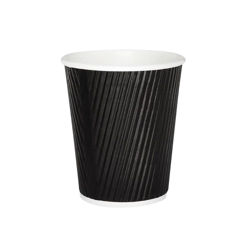 25cl Triple Wall Black Ripple Cups, Pack of 500 | HVRWBPA08