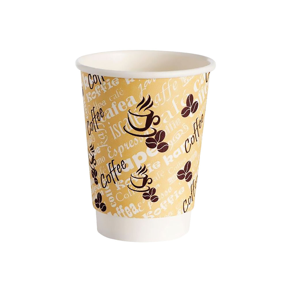 4Aces 25cl Red Bean Double Wall Paper Cups, Pack of 500 - HVDWPA08