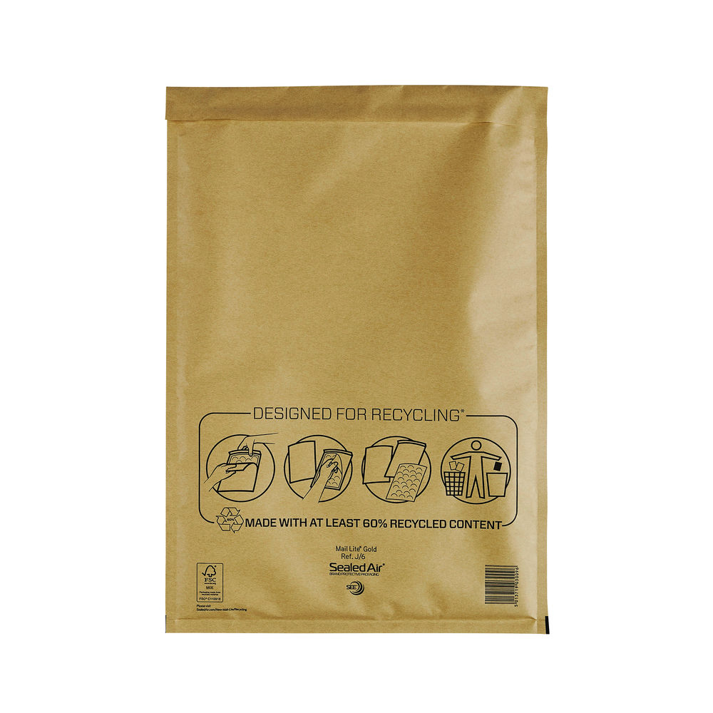 Mail Lite Gold J/6 300 x 440mm Bubble Lined Postal Bags, Pack of 50 - MLGJ/6