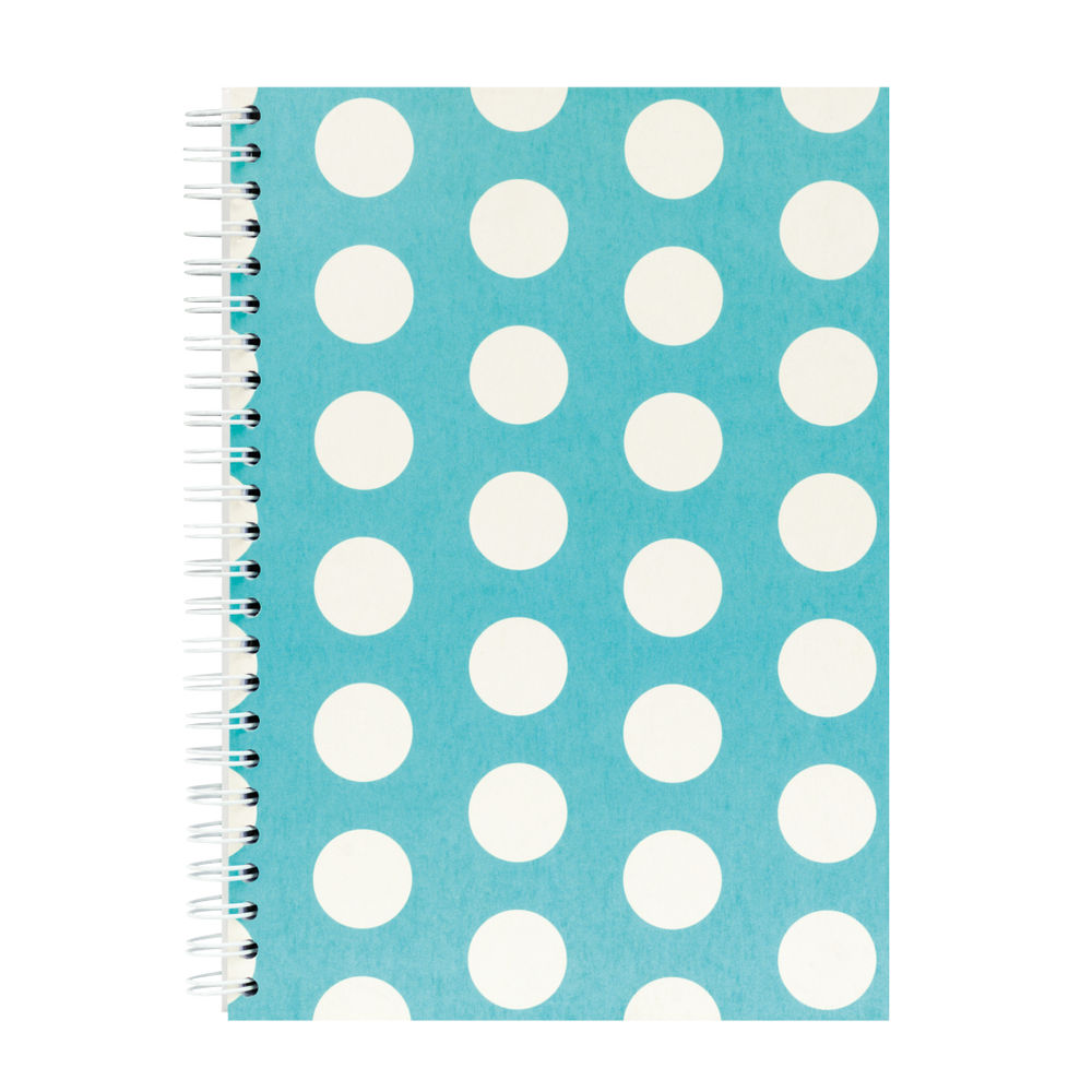 Go Stationery Teal Large Polka Dot A5 Notebook - 5NC403A