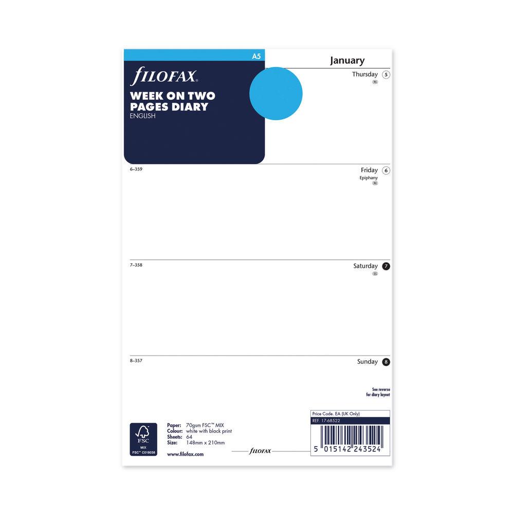 Filofax Refill Week to View A5 2022 22-68522