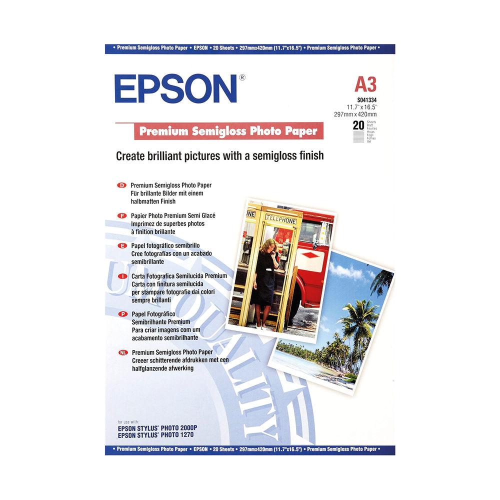 Epson A3 Premium Semi-Gloss Photo Paper (Pack of 20) C13S041334