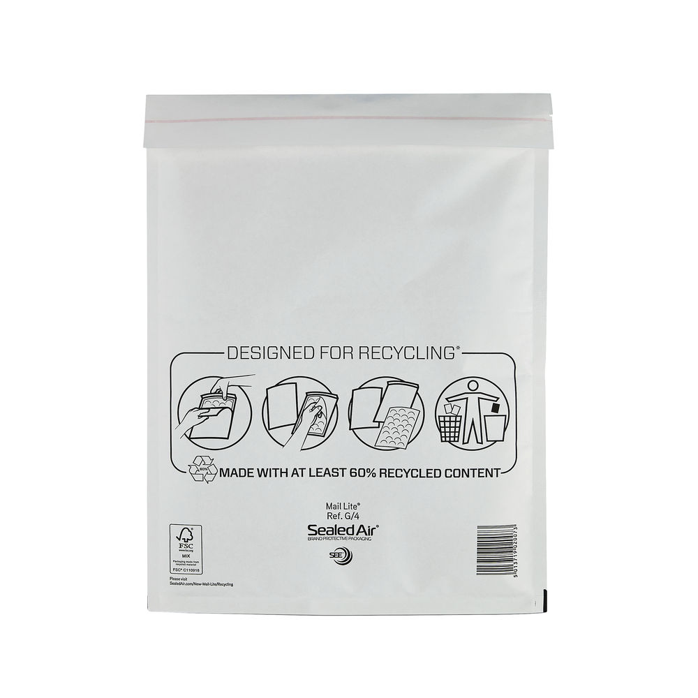 Mail Lite G/4 240 x 330mm Bubble Lined Postal Bags, Pack of 50 - MLW G/4