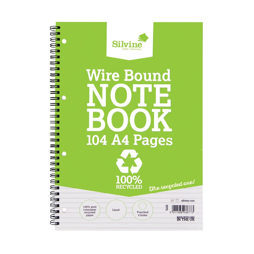 Silvine Everyday Recycled Wirebound Notebook A4 (Pack of 12) TWRE80