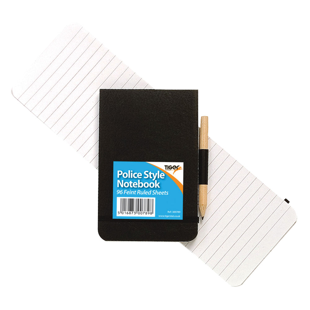 Tiger Police Style Notebook with Pencil, Pack of 12 - 300789