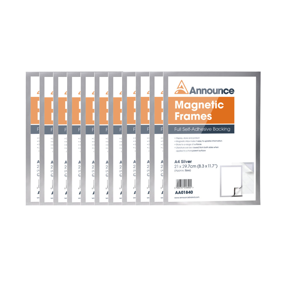 Announce Magnetic Frame A4 Silver (Pack of 10) AA01842
