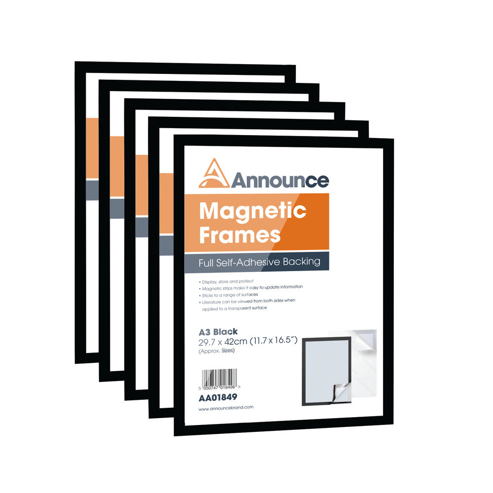Announce Black A3 Magnetic Frames, Pack of 5 - AA01850