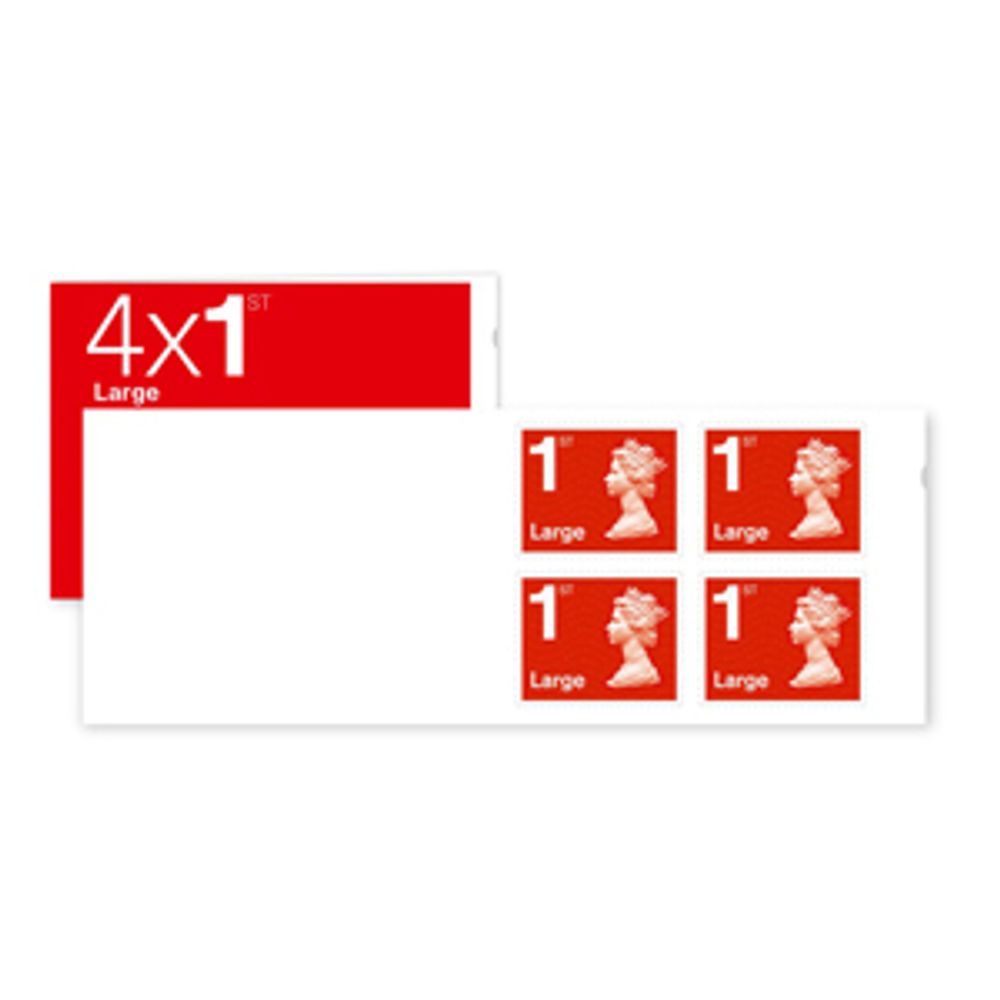 1st Class Large Stamps X 4 Pack Postage Stamp Booklet Sb4fl Redsingle