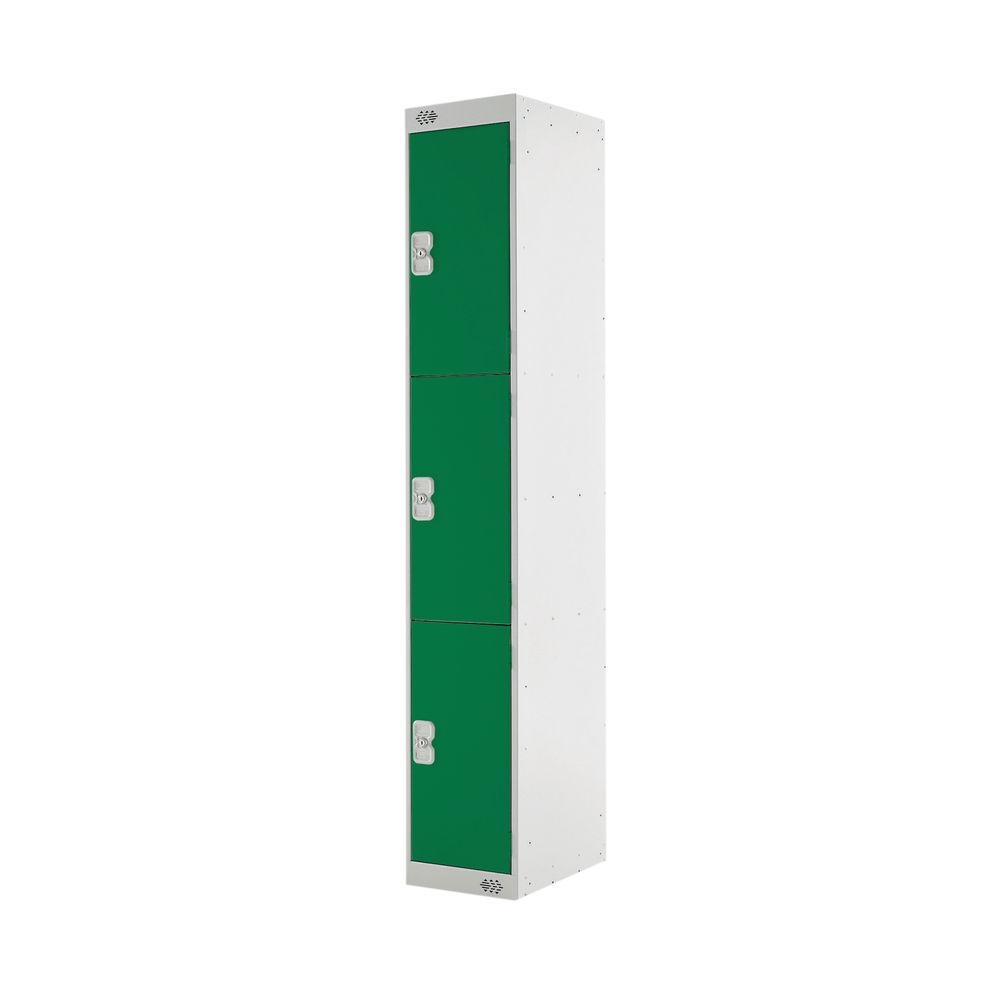 Three Compartment D450mm Green Locker - MC00052