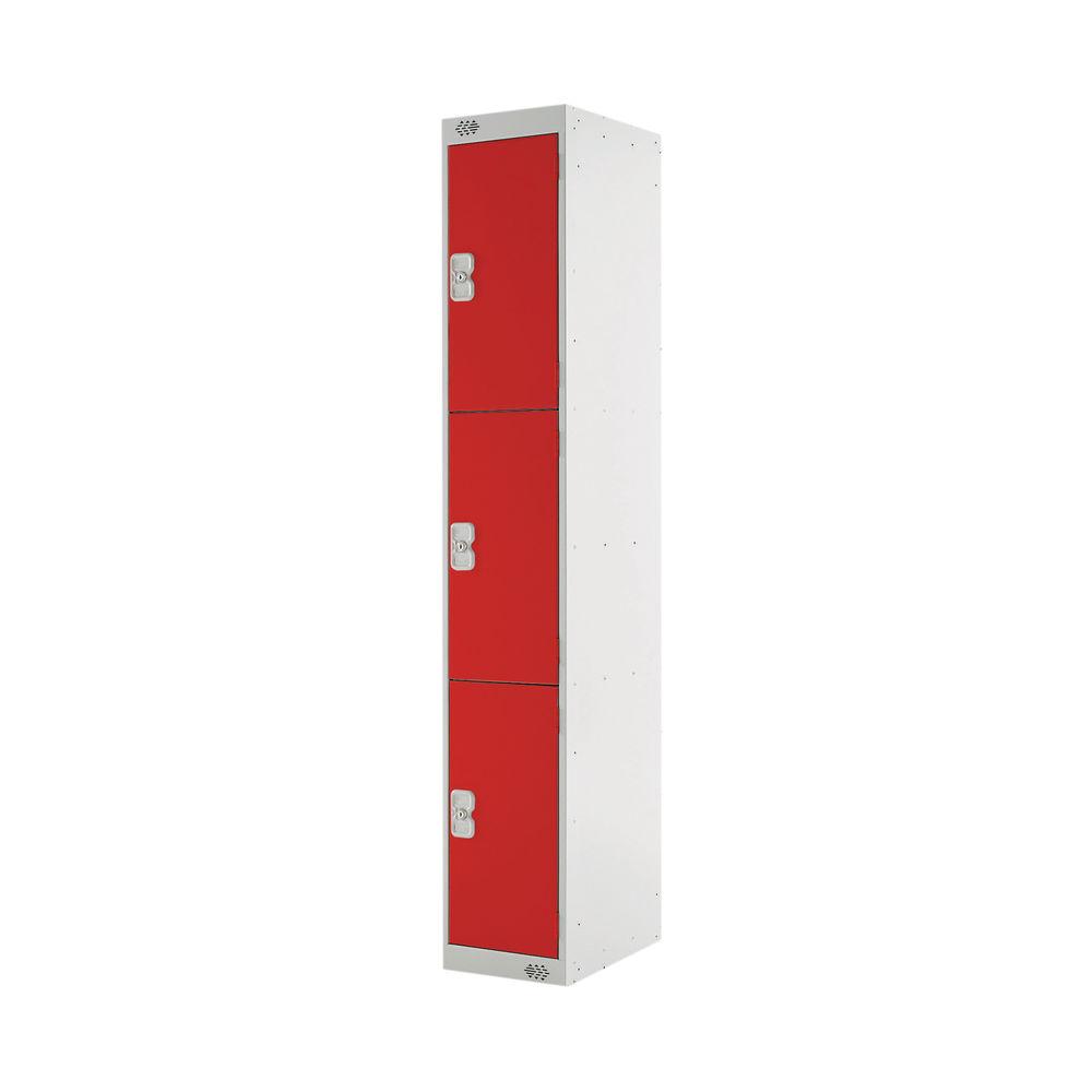 Three Compartment D450mm Red Locker - MC00053
