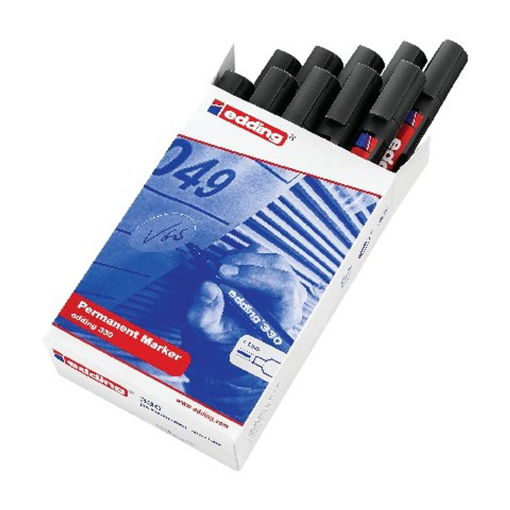 edding 330 Black Permanent Chisel Tip Markers, Pack of 10 - 330-001