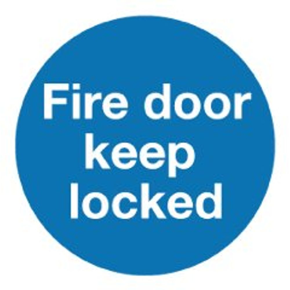Fire Door Keep Locked 100 x 100mm Self-Adhesive Safety Sign, Pack of 5 - KM72A/S
