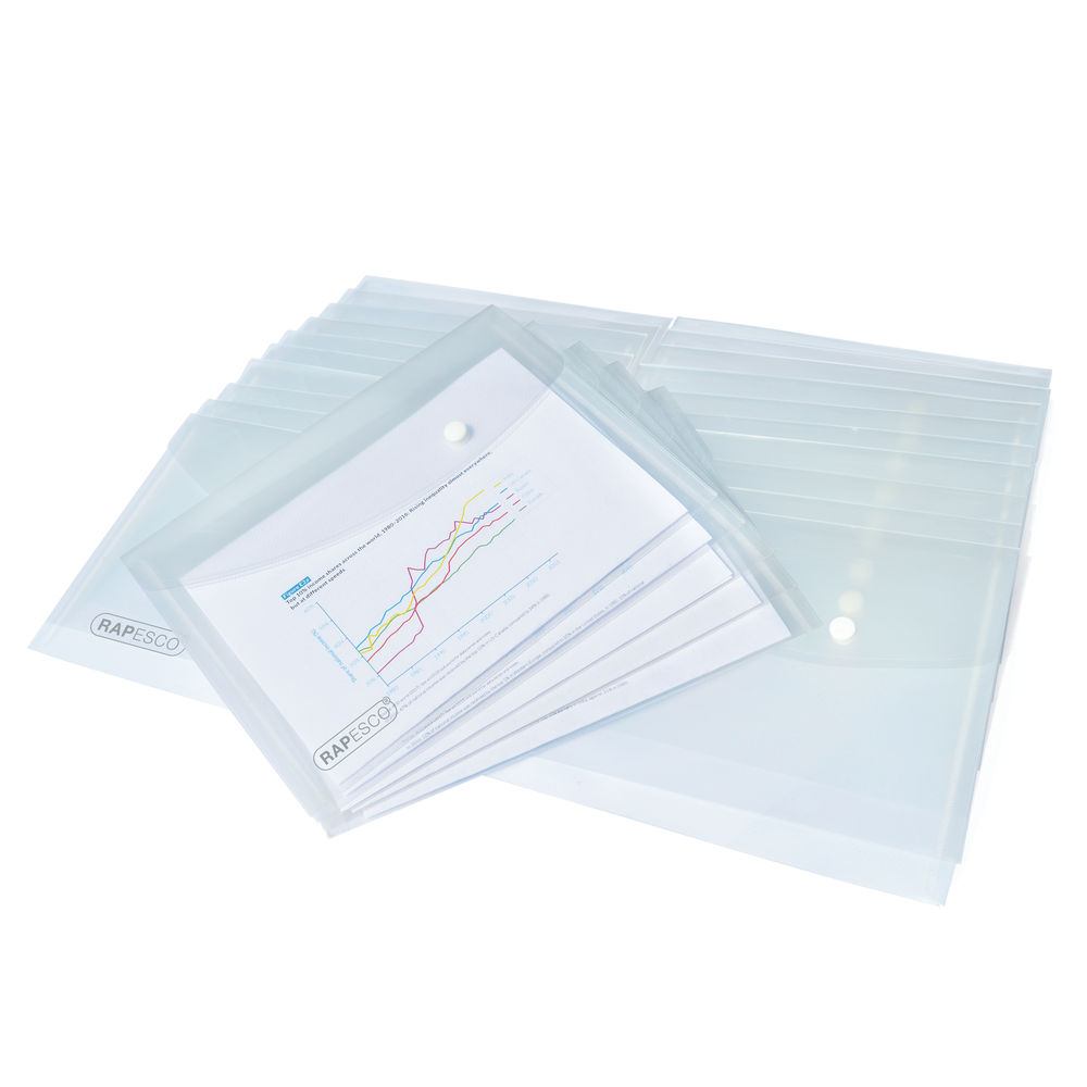Rapesco Popper Wallet A5 Clear (Pack of 25) 1500