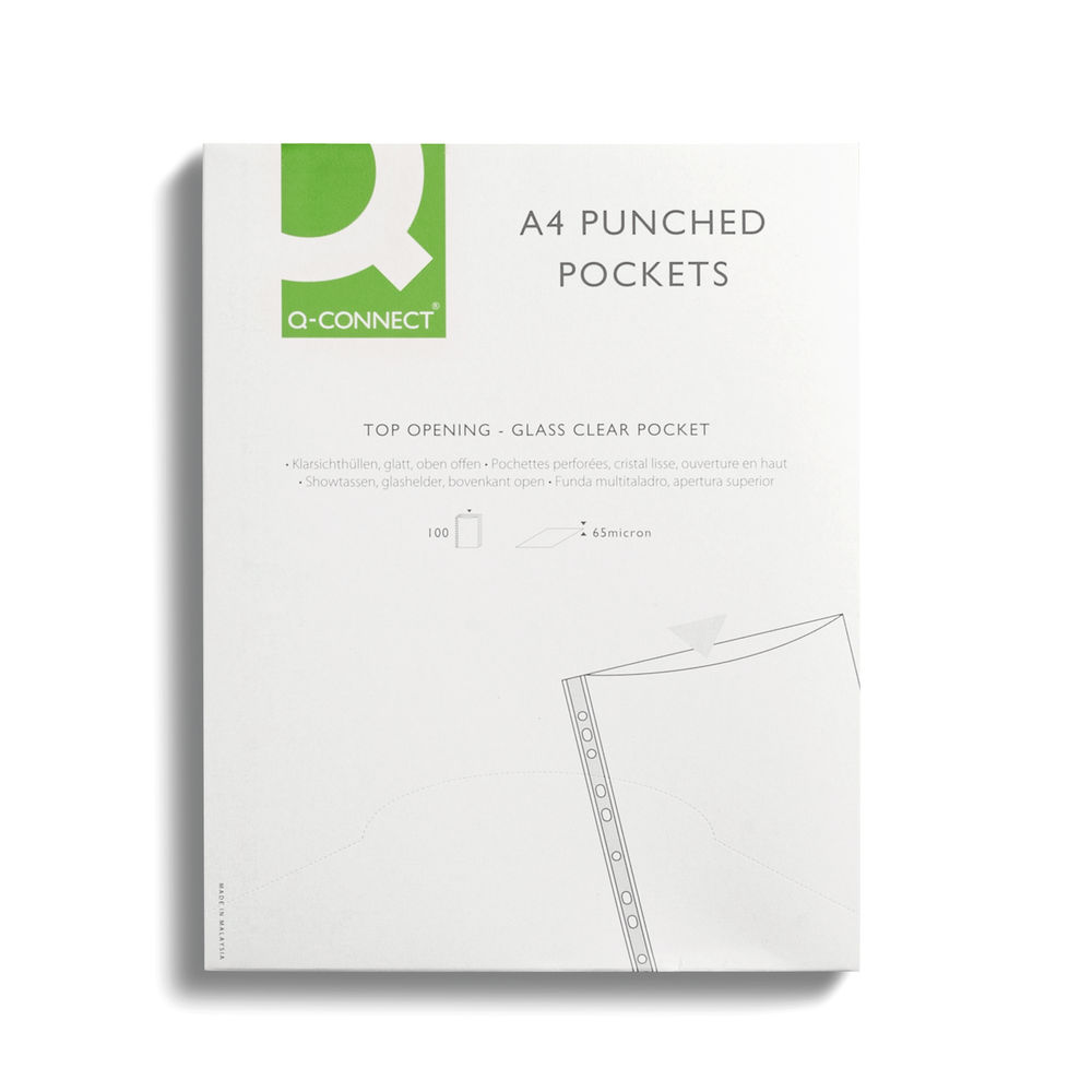 Q-Connect Deluxe A4 Clear Punched Pockets, Pack of 100 - KF01121
