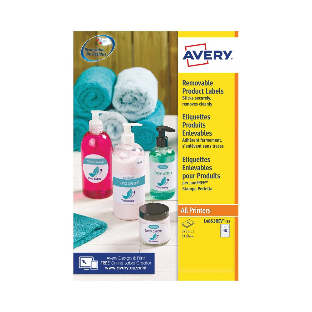 Avery White 51mm Round Removable Labels, Pack of 375 - L4853REV-25