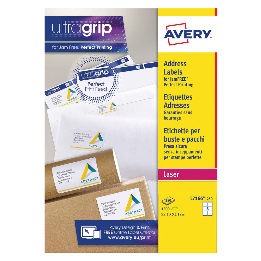 Avery 99.1 x 93.1mm White Ultragrip Address Laser Labels, Pack of 1500 - L7165-250