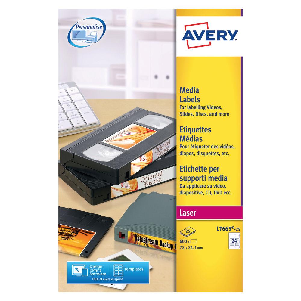 Avery Data Cartridge White Labels 70 x 21.1mm (Pk600) - L7665-25