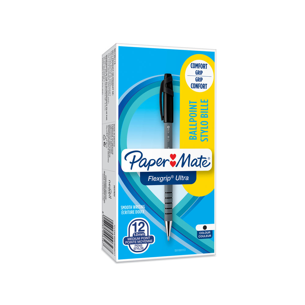 Paper Mate Black Flexgrip Ultra Ballpoint Pens, Pack of 12 - S0190113