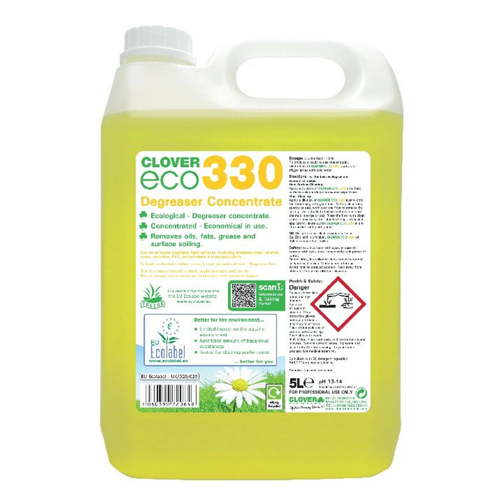 Clover 5 Litre Eco 330 Concentrate Degreaser, Pack of 2 - 330