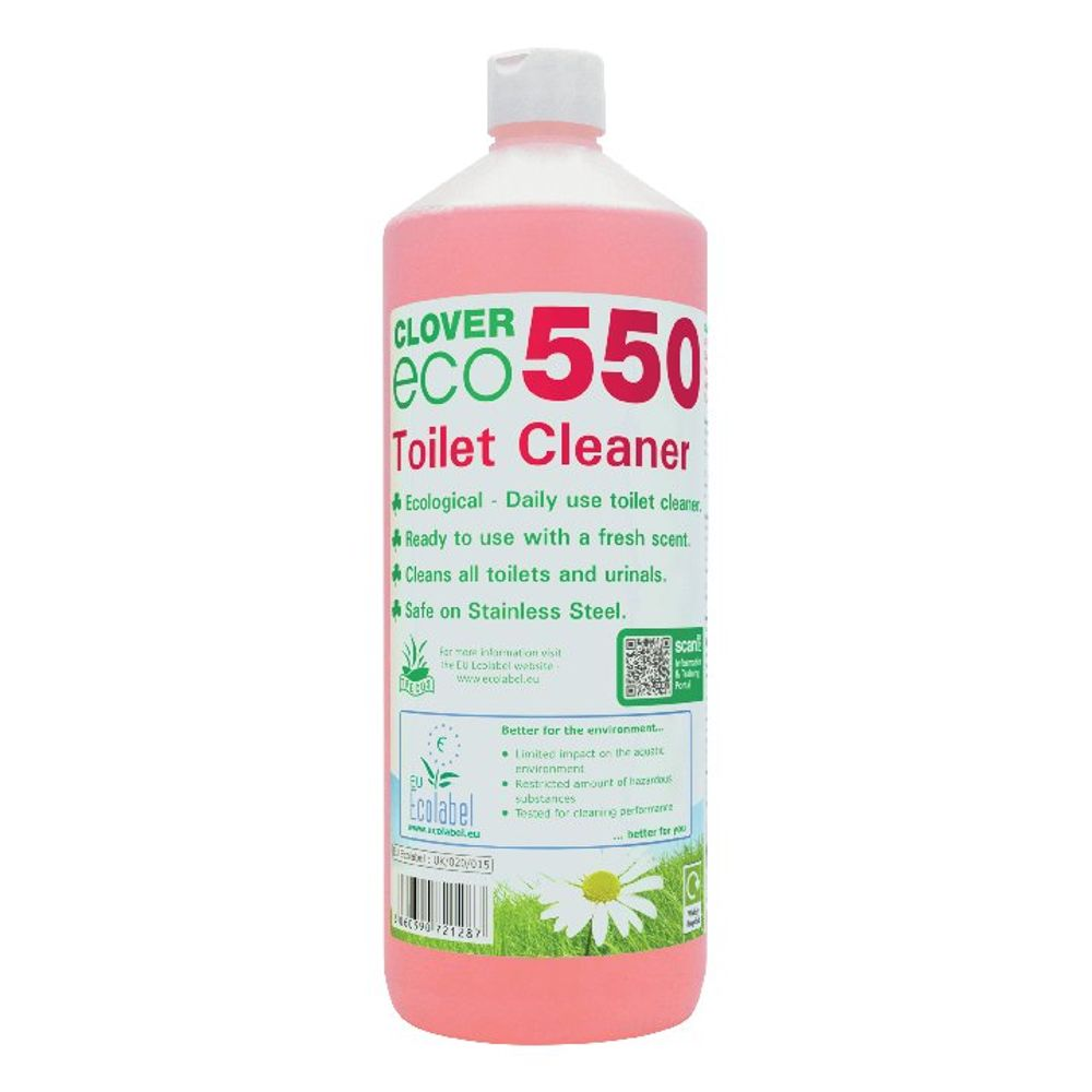 Clover 1 Litre Eco 550 Toilet Cleaner, Pack of 12 - 550