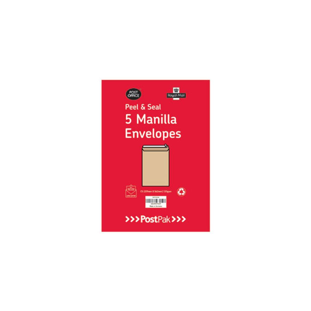 Postpak Manilla C5 Peel and Seal Envelopes 115gsm, Pack of 5 - 9731326