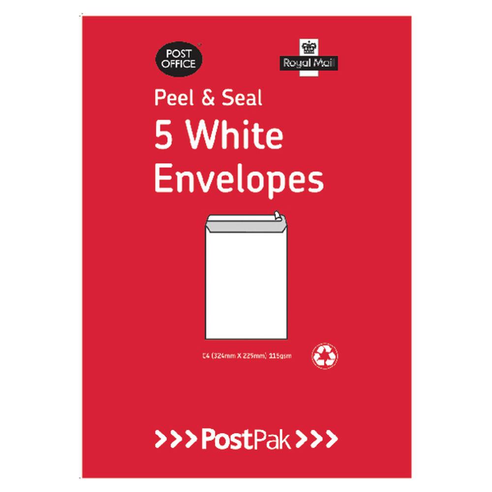 PostPak White Peel and Seal C4 Envelopes 90gsm - Pack of 5 - OEM: 888-8593