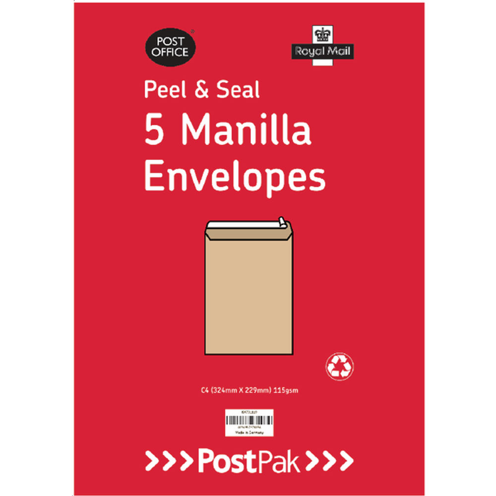 Postpak Manilla C4 Peel and Seal Envelopes 115gm, Pack of 5 - 9731119