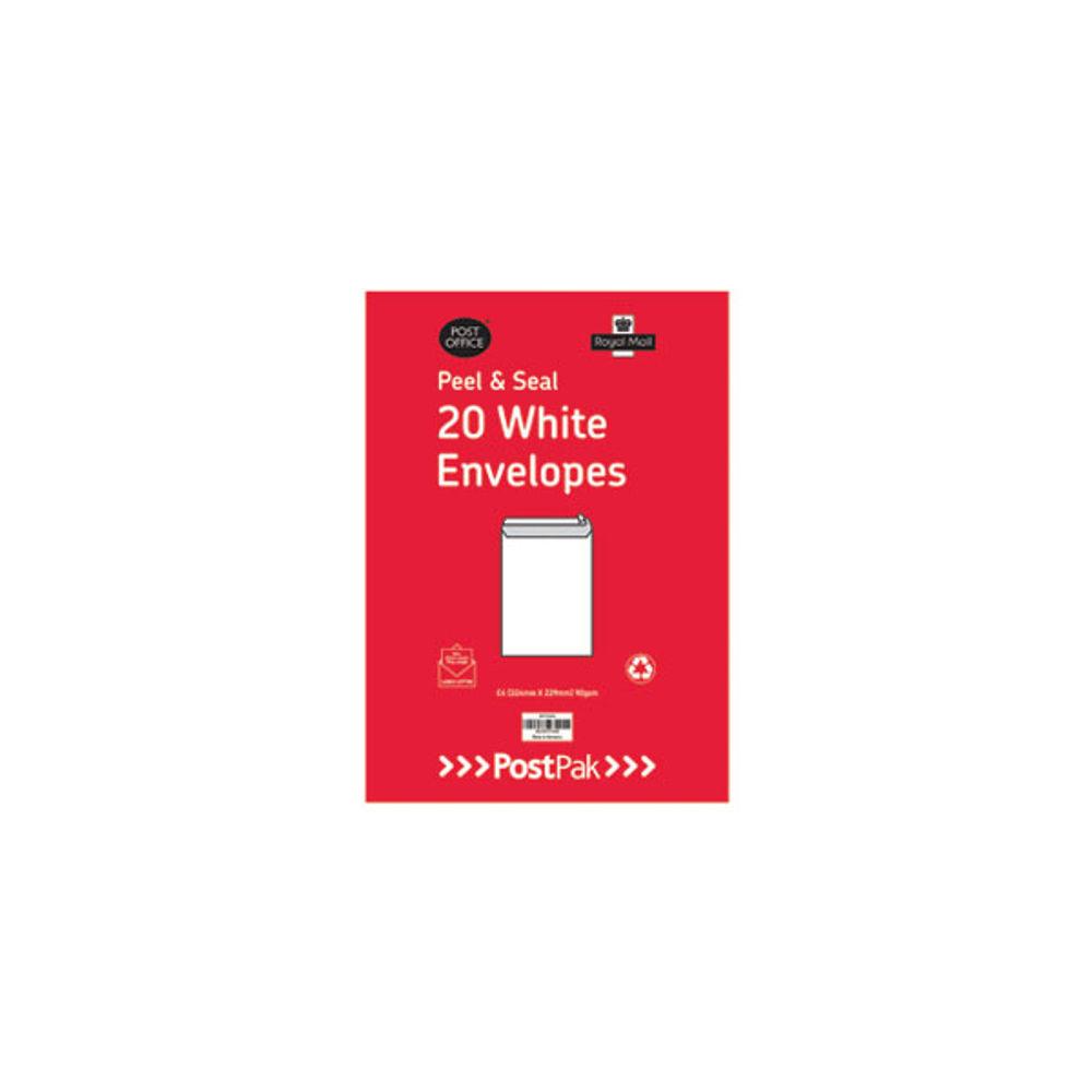 Postpak White C4 Peel and Seal Envelopes, 90gsm - 9730451