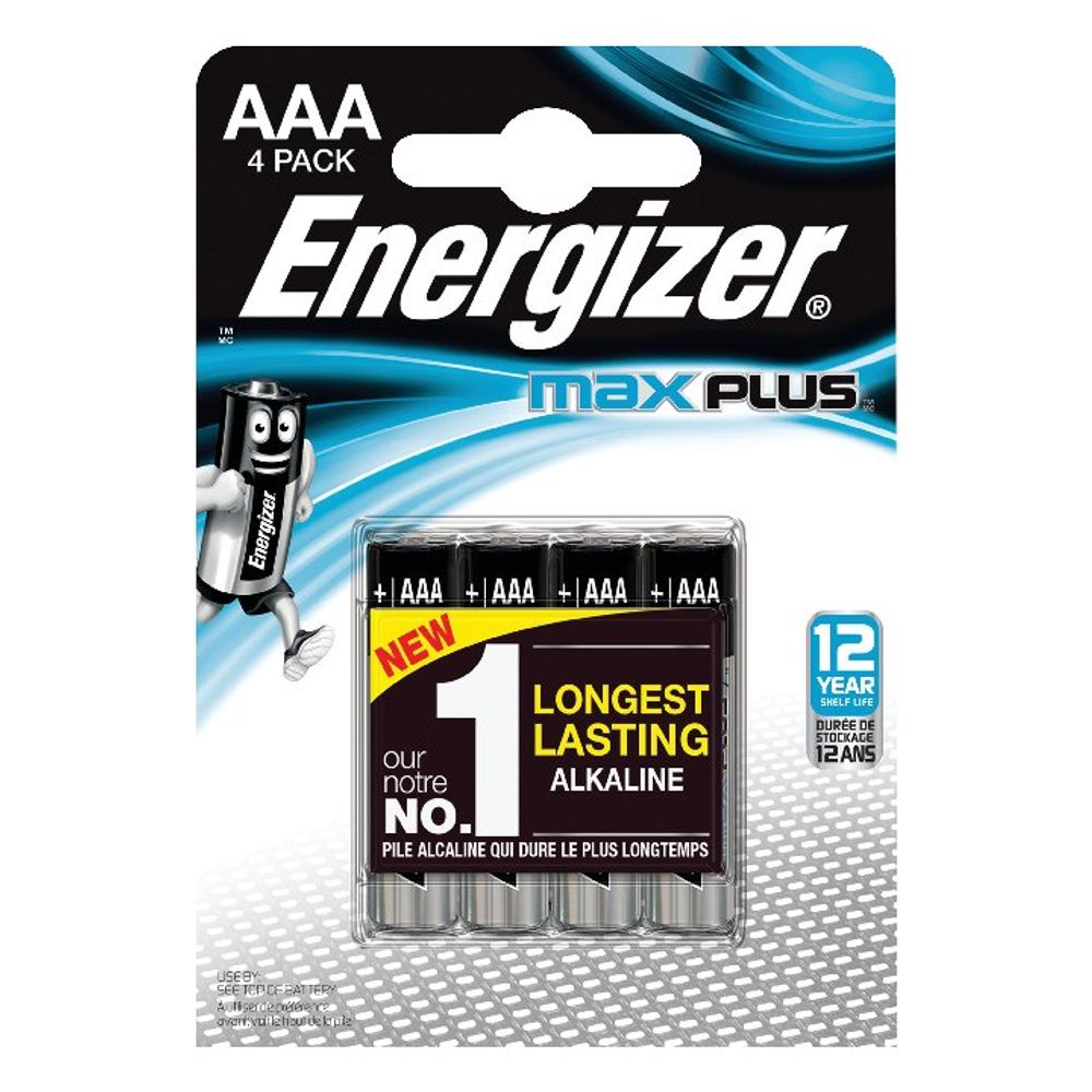 Energizer Max Plus AAA Batteries, Pack of 4 - E301321400