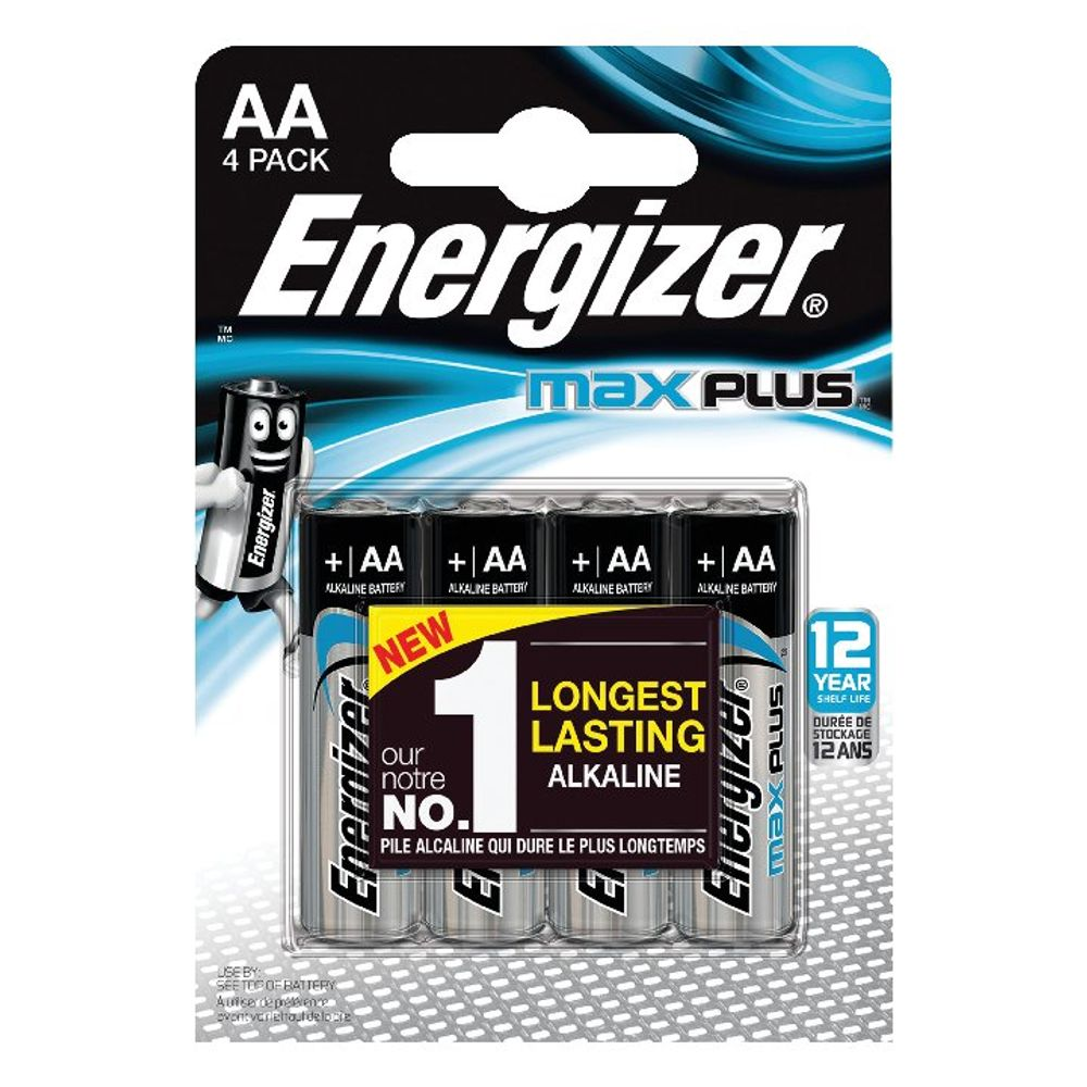 Energizer Max Plus AA Batteries, Pack of 4 - E301323600