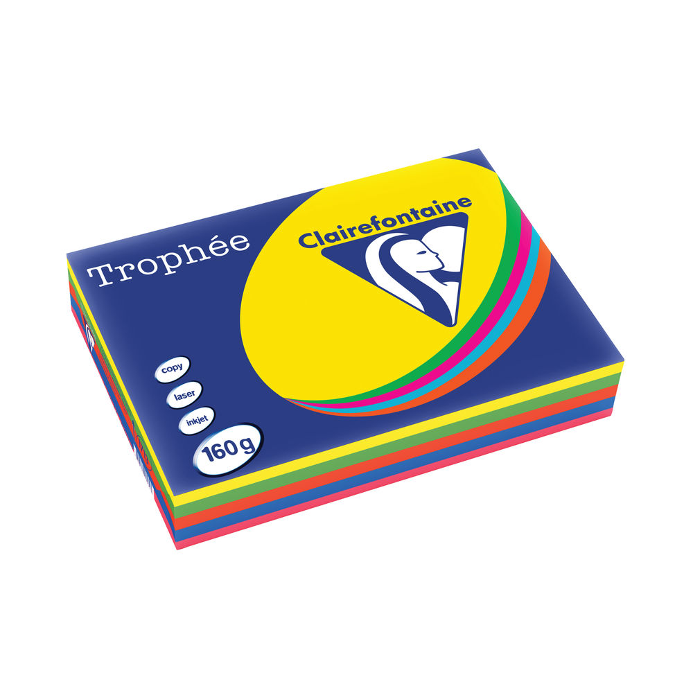 Trophee Colour Card/Paper A4 Assorted 160gsm (Pack of 250) 1713C