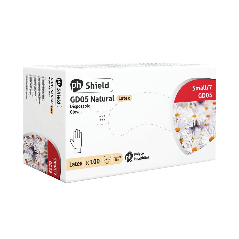 Shield Small Natural Powder-Free Latex Gloves, Pack 100 - GD05