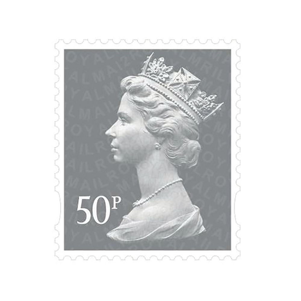 Royal Mail 50p Postage Stamps x 50 Pack (Self Adhesive Stamp Sheet)