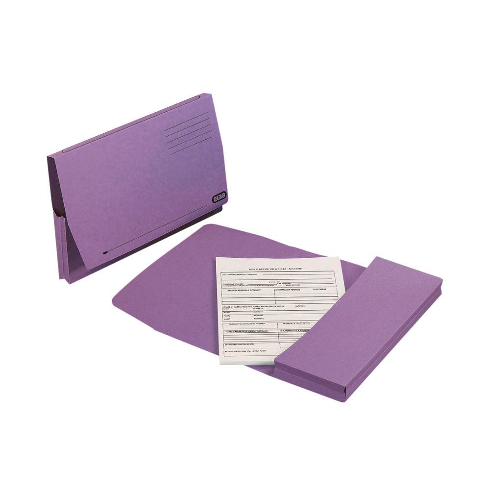 Elba Document Wallet Full Flap Foolscap Purple (Pack of 50) 100090253