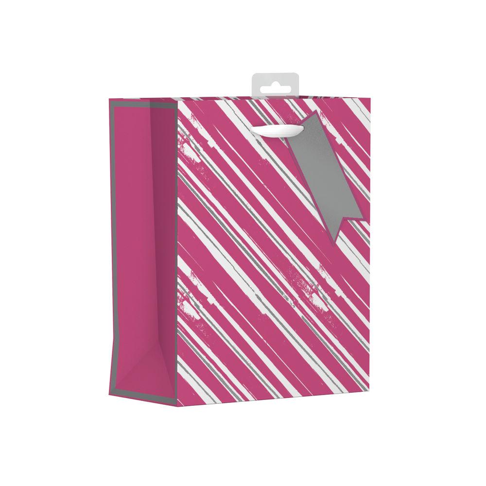 Giftmaker Pink Vertical Stripe Medium Gift Bags, Pack of 6 - FSCM
