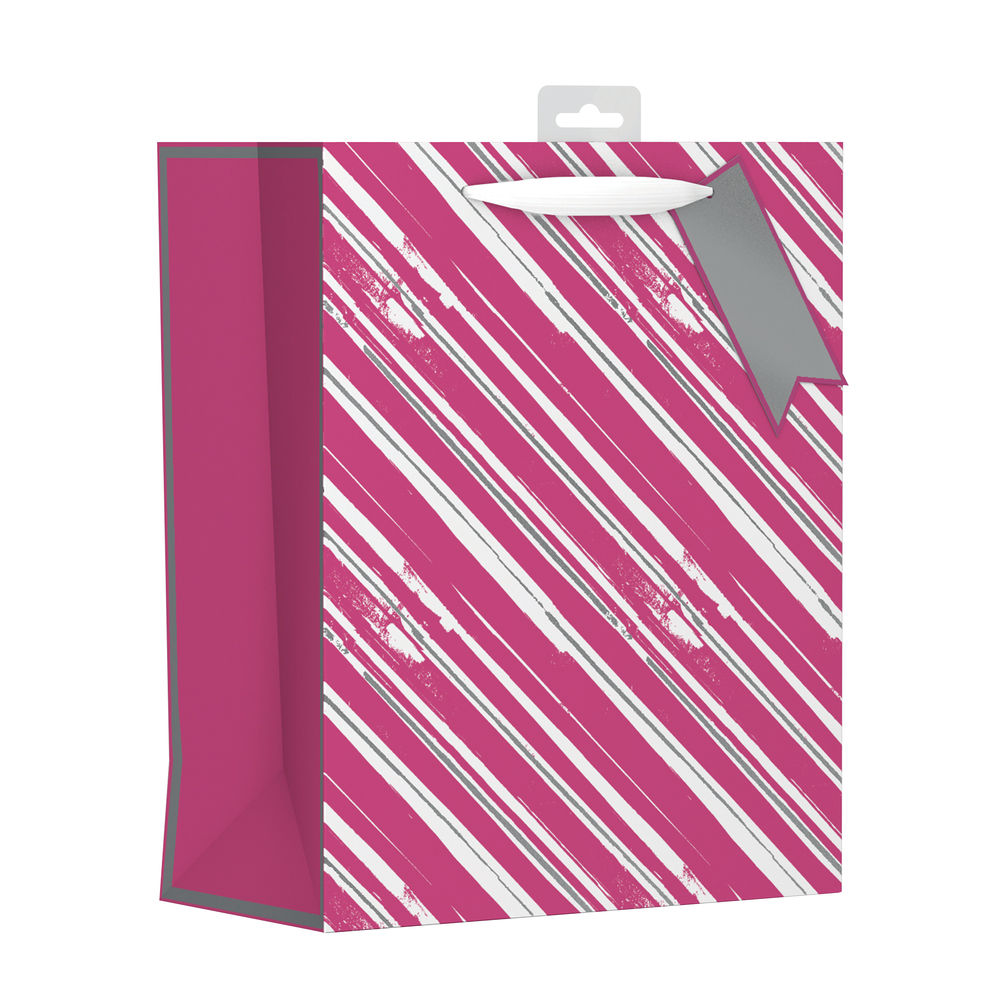 Giftmaker Pink Vertical Stripe Large Gift Bags, Pack of 6 - FCSL
