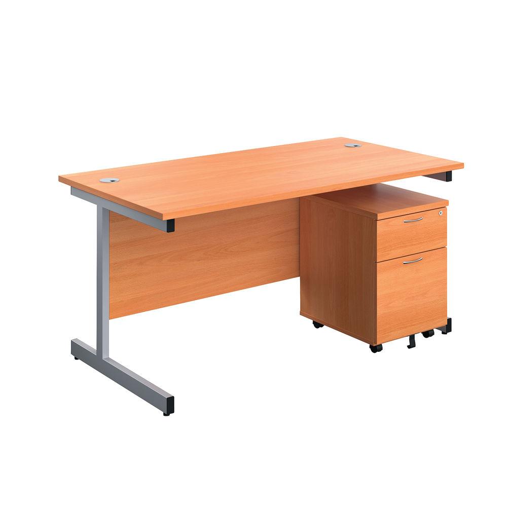 First 1600mm Beech/Silver 2 Drawer Pedestal Single Desk