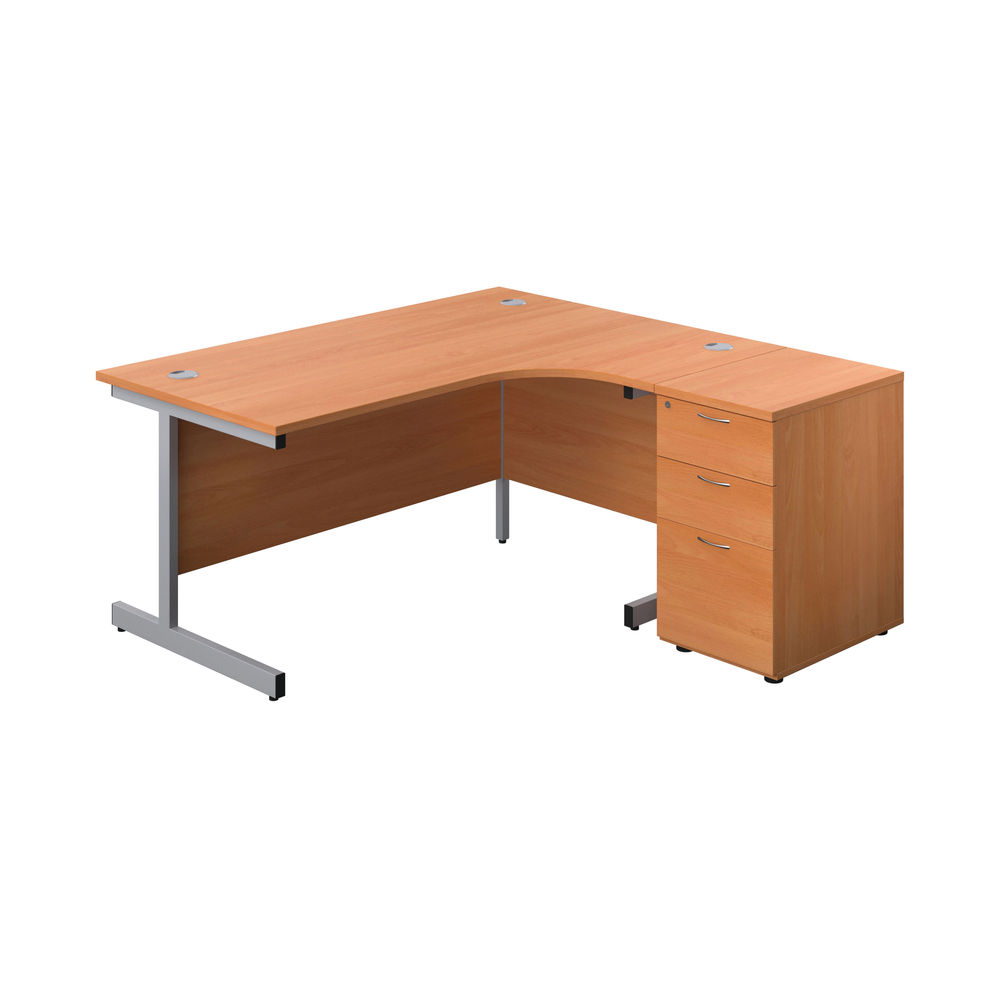 First 1600mm Beech/Silver Right Hand Radial Desk with Pedestal